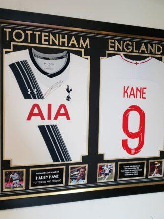 Harry Kane England & Spurs shirts combined
